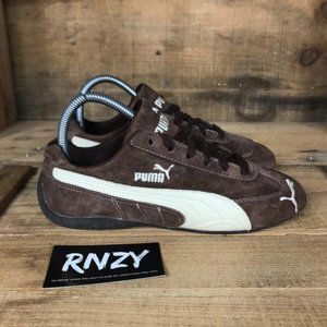 Puma Brown Suede Lace Up Running Sneakers